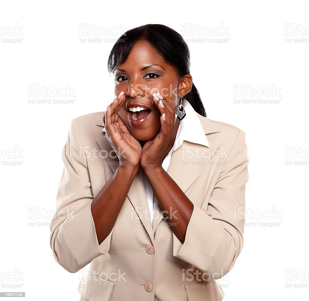 Charming businesswoman screaming at you royalty-free stock photo