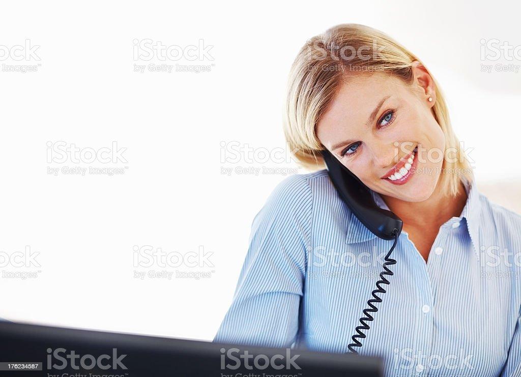 Charming executive on phone call stock photo