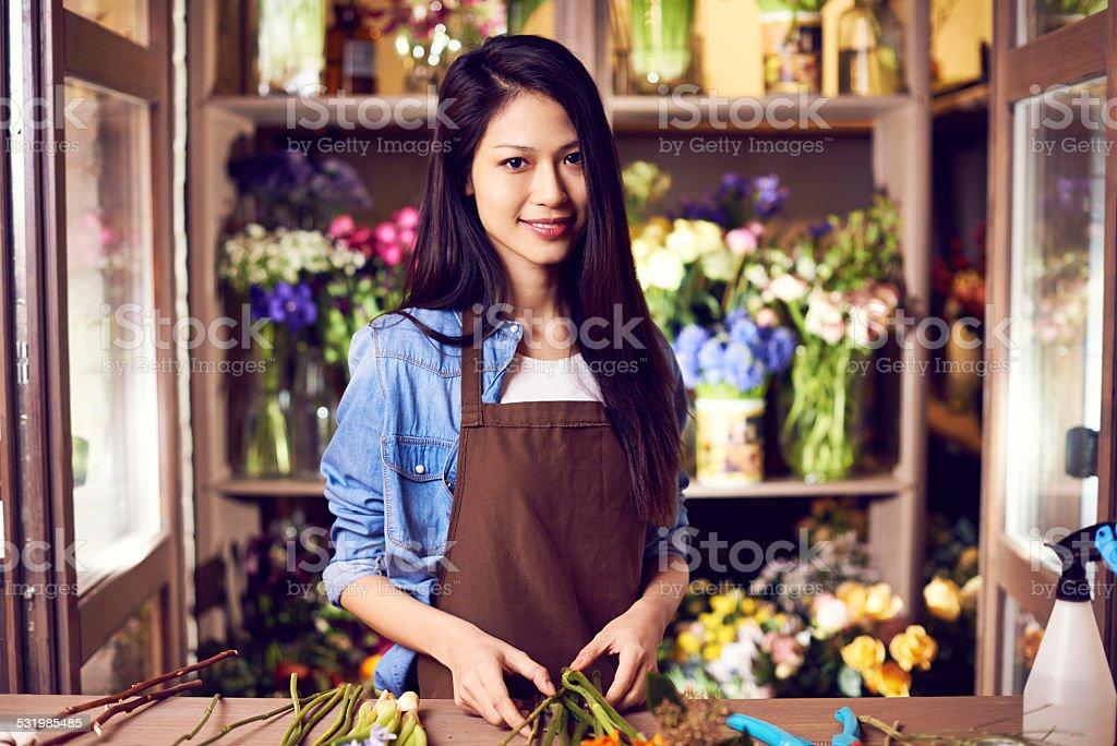 Charming floral designer stock photo