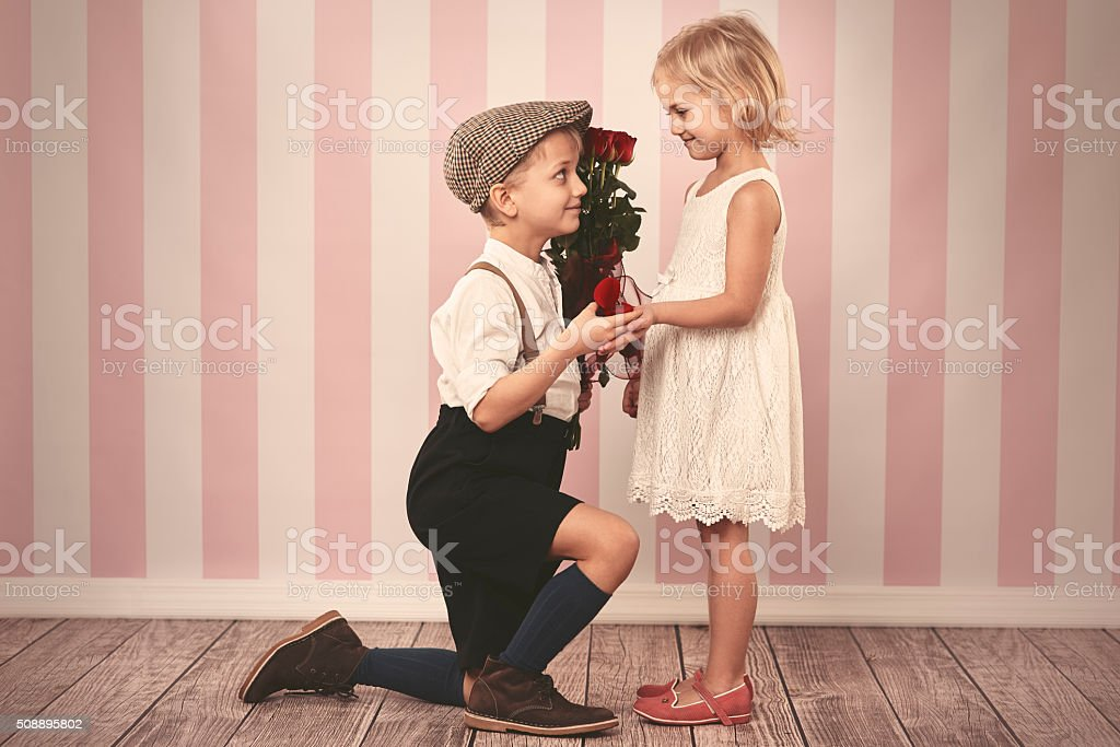 Charming girl and her future husband stock photo