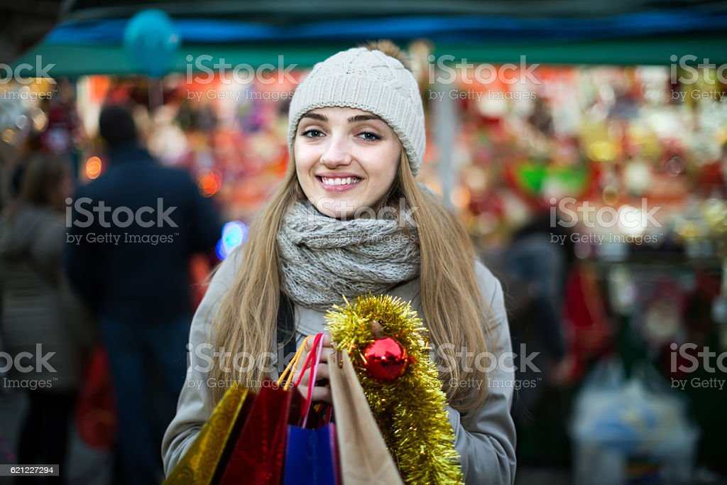 Charming girl in evening outdoors stock photo