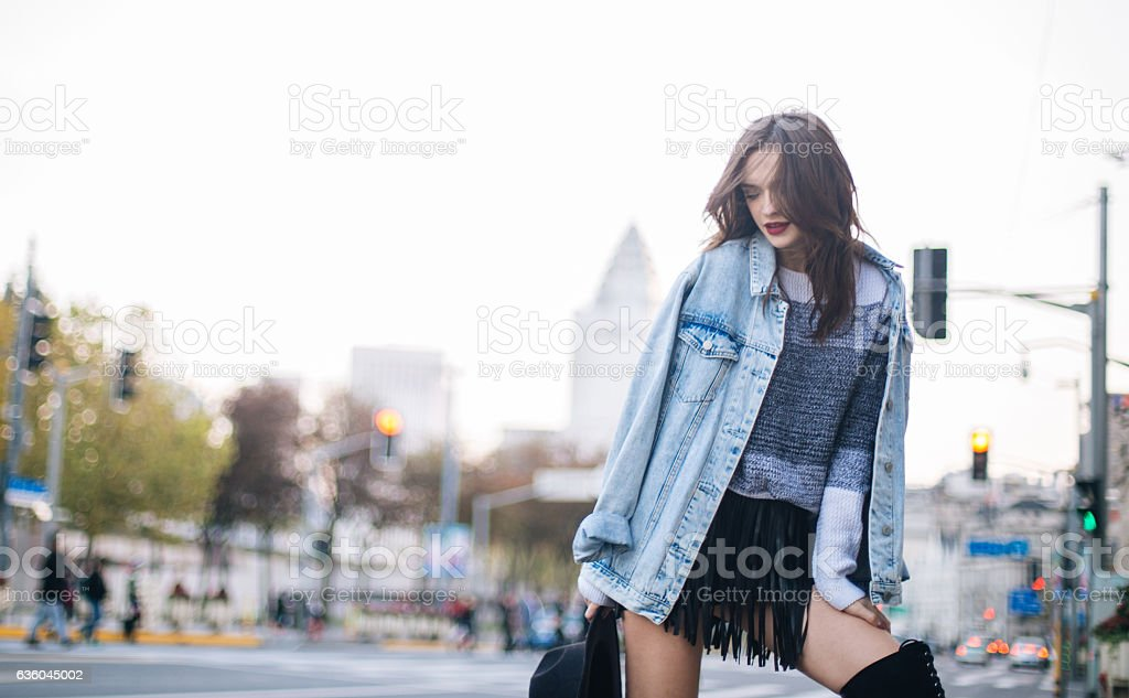 Charming girl outdoors stock photo