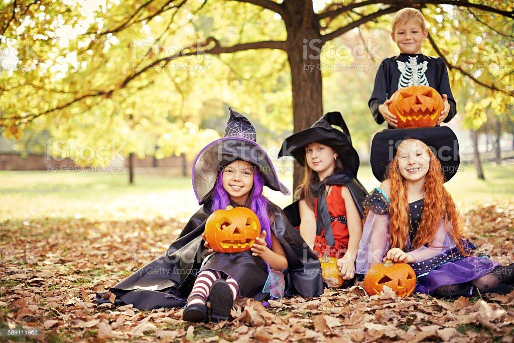 Charming Halloween characters stock photo