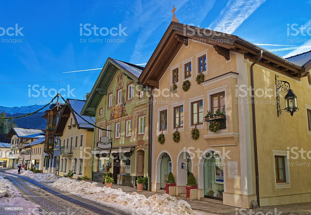 Charming houses in Bavarian Village Garmisch-Partenkirchen stock photo