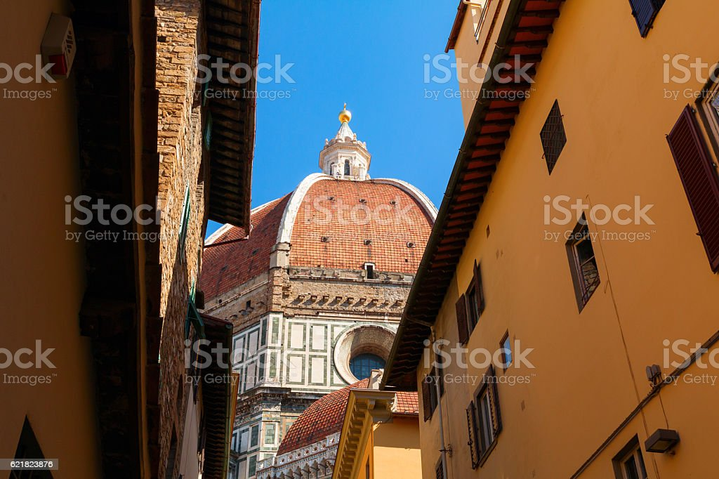 Charming narrow streets of Florence town and the Cathedral Santa stock photo
