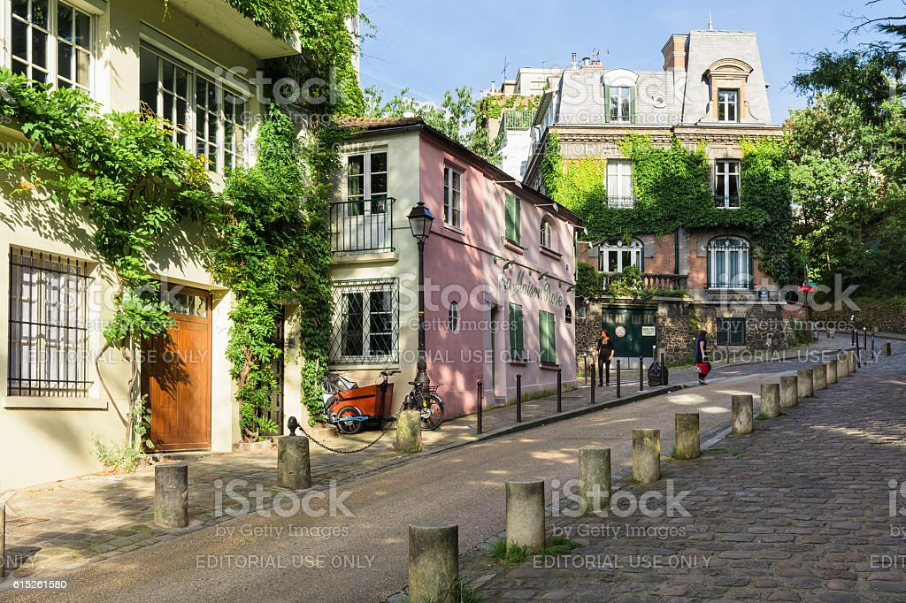 Charming old street of Montmartre hill. Paris, France royalty-free stock photo