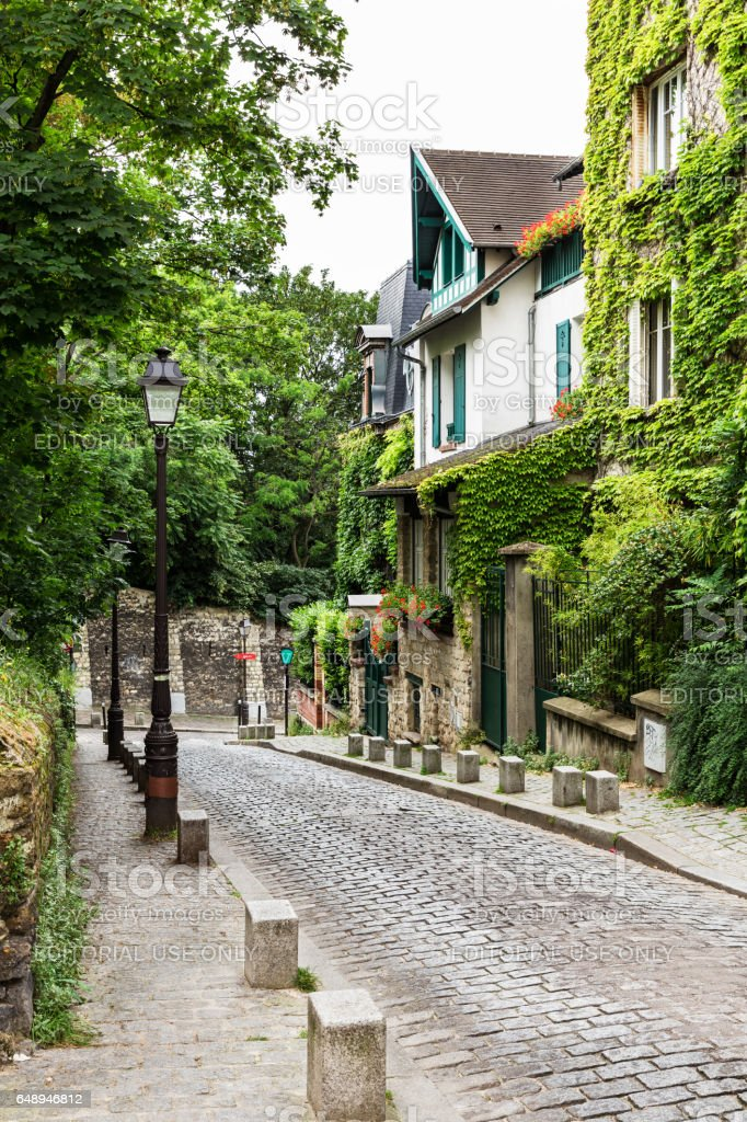 Charming old street of Montmartre hill. Paris, France stock photo