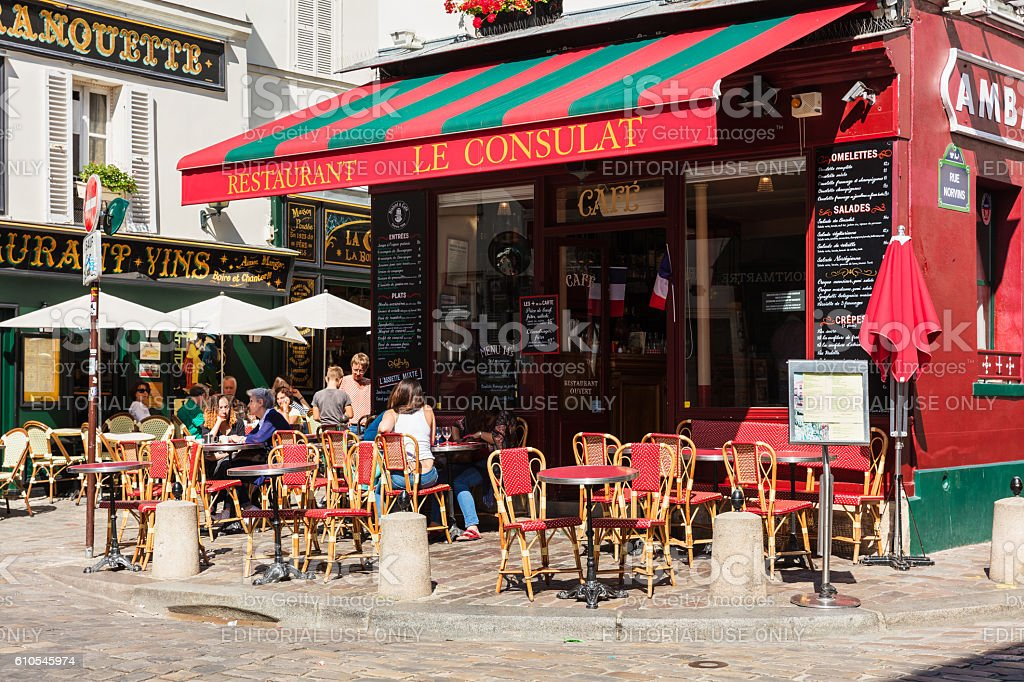 Charming restaurant Le Consulat on Montmartre hill, Paris, France royalty-free stock photo