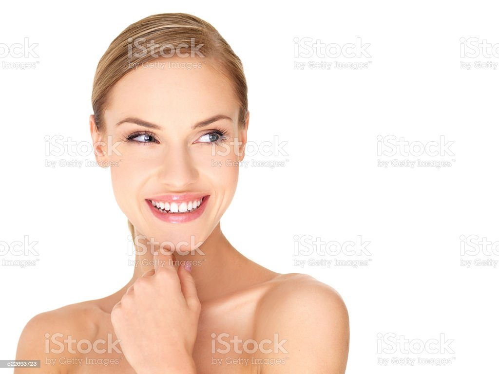 Charming Sexy Bare Woman Smiling to her Left Side stock photo