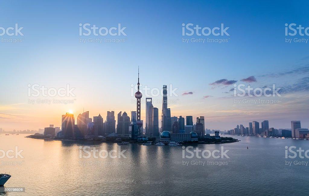 charming shanghai skyline in sunrise stock photo