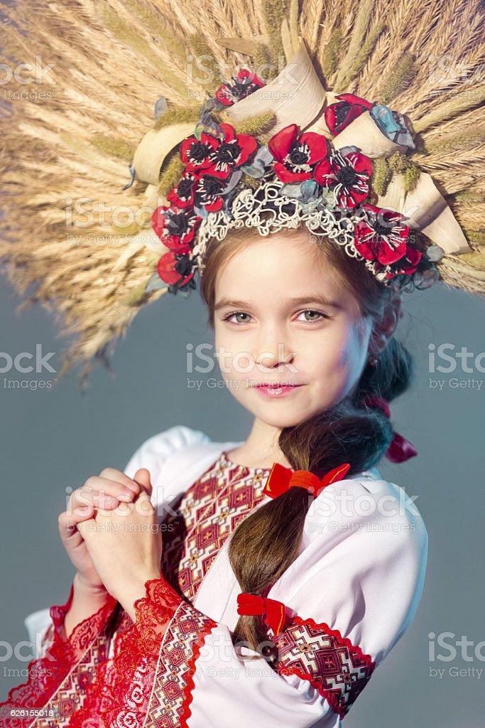 Charming Slavic Girl In Folk Style Headdress stock photo