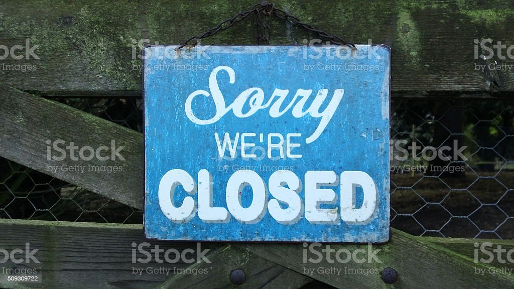Charming 'Sorry We're Closed' sign stock photo