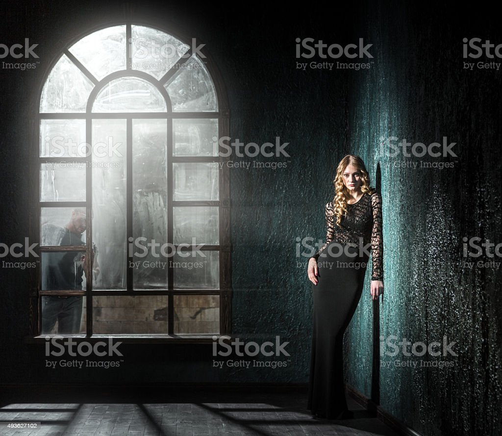 Charming Woman Beckoning Her Beauty stock photo