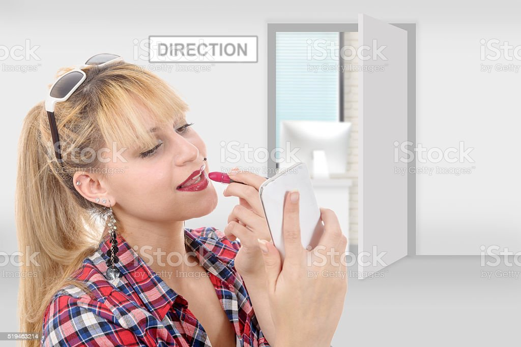 charming woman has appointment with her boss stock photo