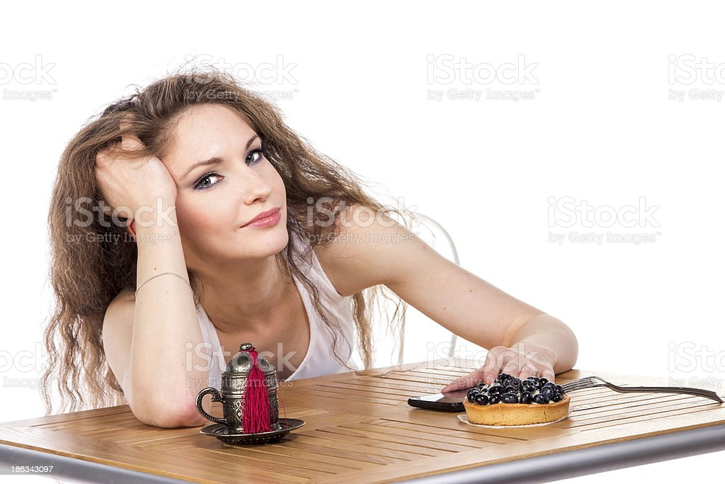 Charming woman in a restaurant royalty-free stock photo