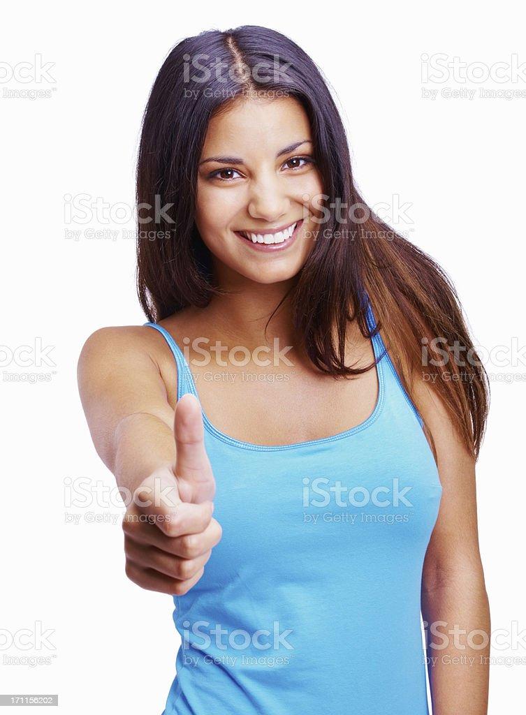 Charming woman wishing you luck royalty-free stock photo