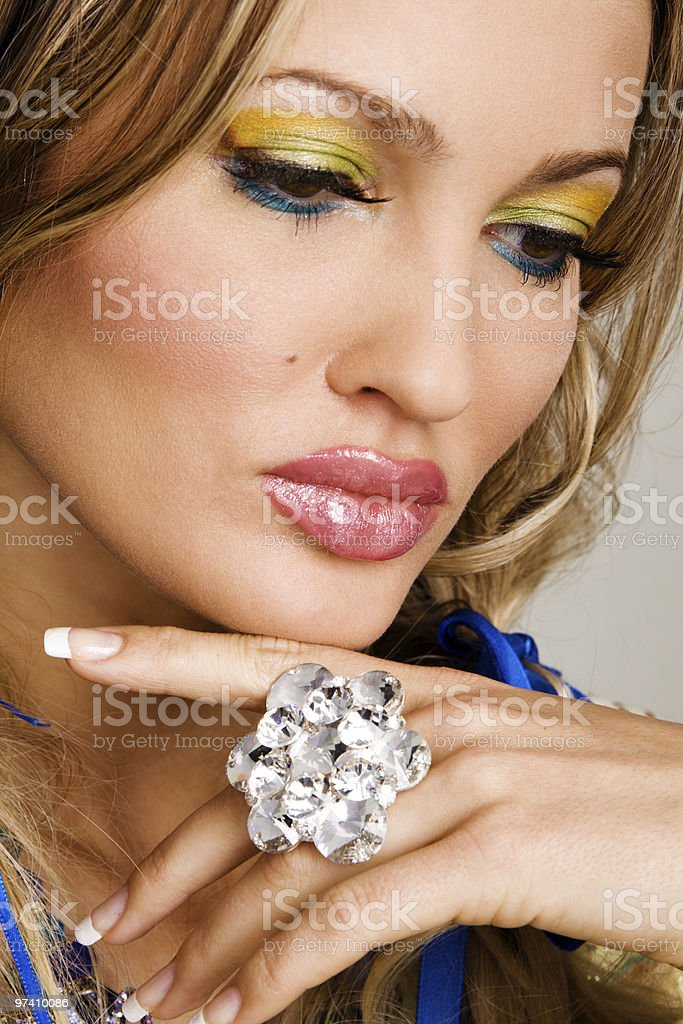 Charming woman with luxury jewelry royalty-free stock photo