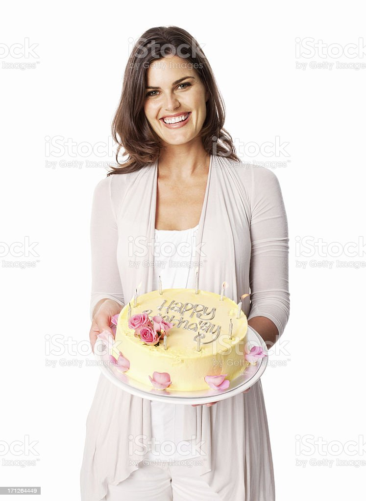 Charming Young Female Holding Birthday Cake - Isolated stock photo