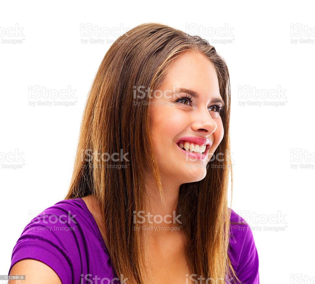 Charming young female smiling on white background stock photo