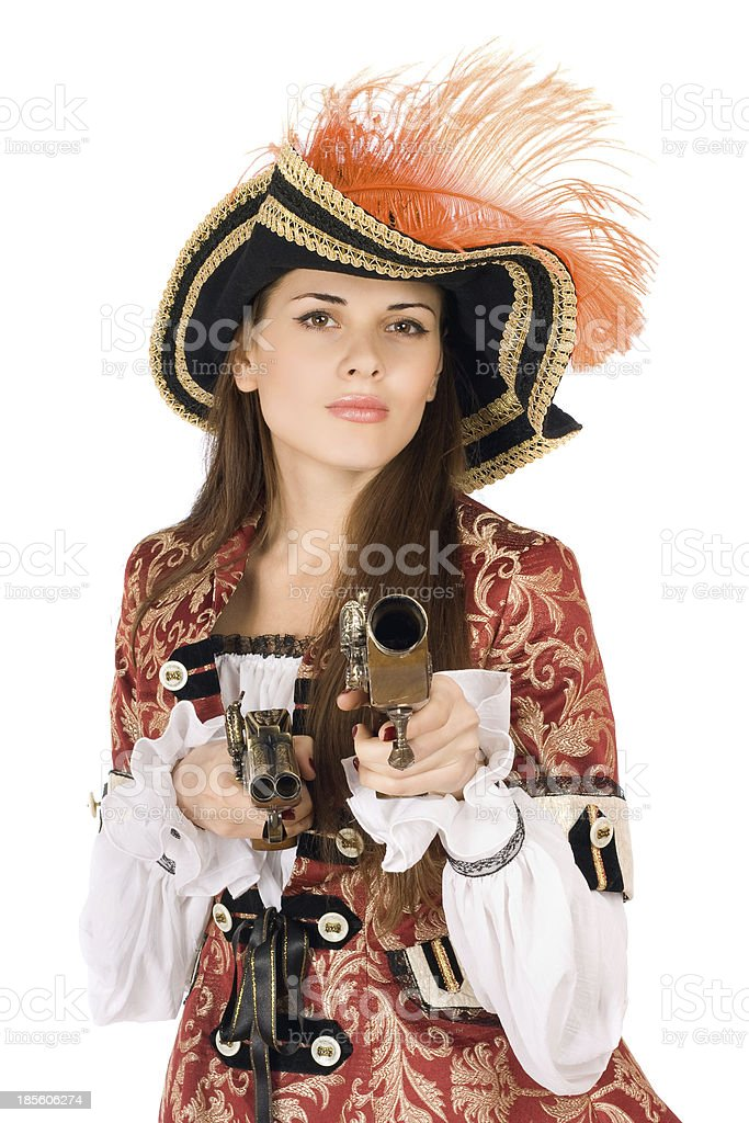 Charming young woman with guns royalty-free stock photo