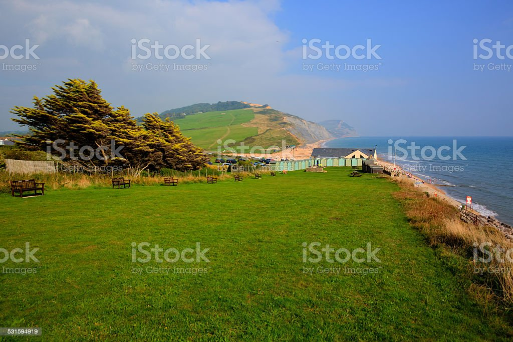 Charmouth Dorset England UK with green field hills and coast stock photo