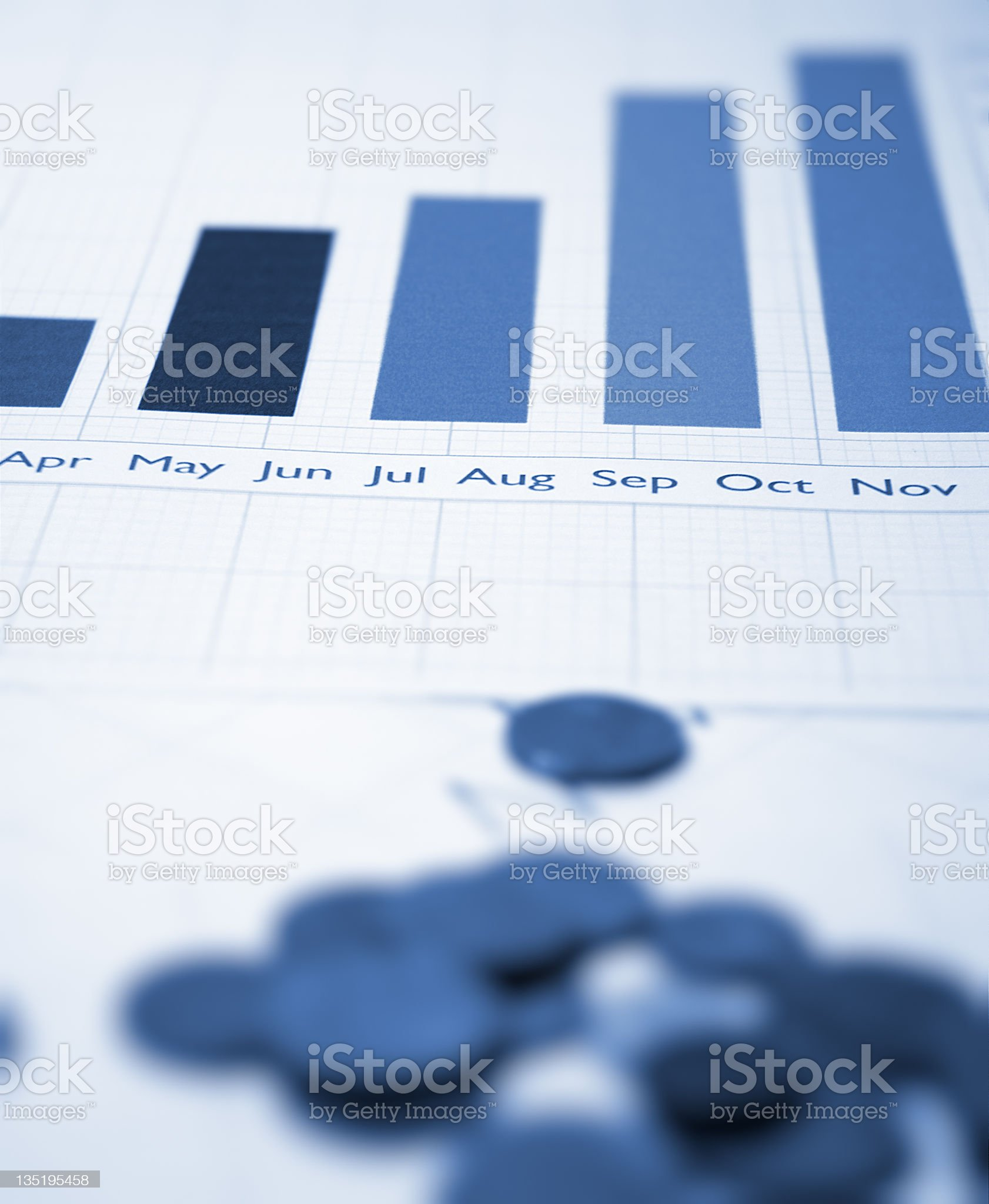 chart and coins royalty-free stock photo