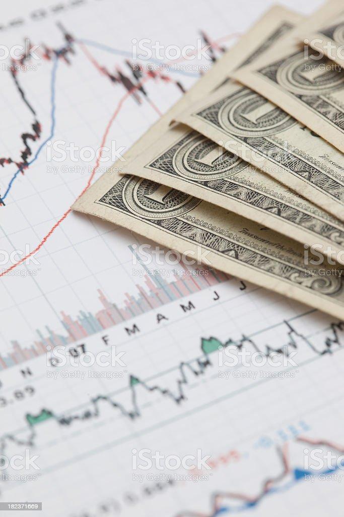 Chart and dollars royalty-free stock photo