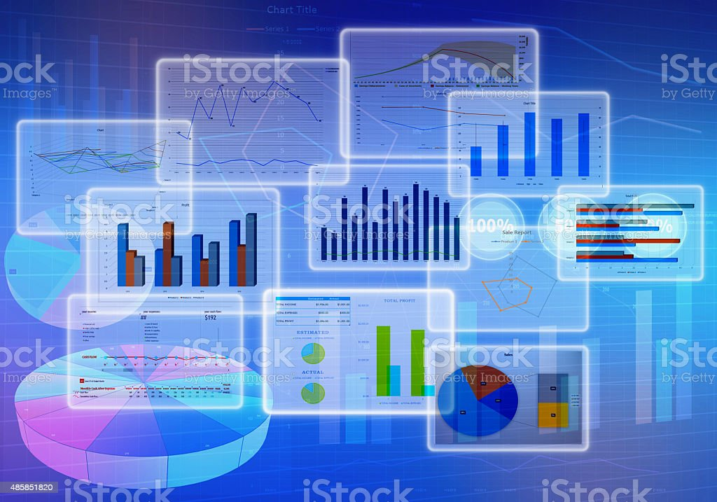 Chart diagrams and Business with financial symbols stock photo