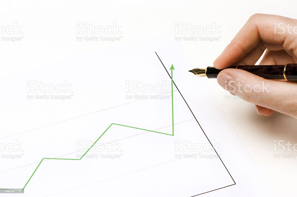 Chart green lign going up royalty-free stock photo