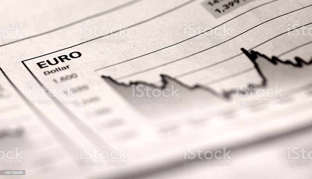 Chart in newspaper stock photo