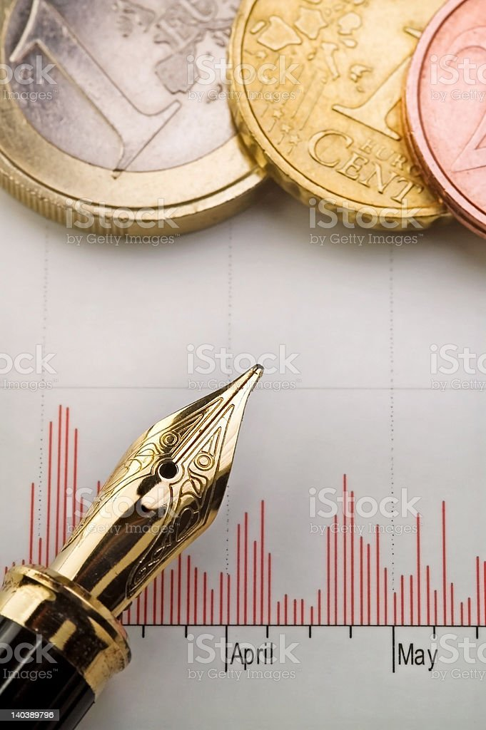 Chart, Money and Fountain Pen royalty-free stock photo