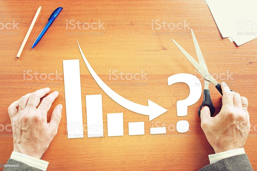 Chart of Business Decrease  With an Arrow Falling Down stock photo