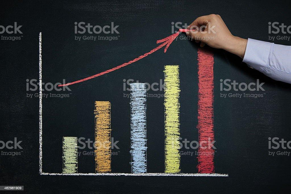 Chart on a blackboard. stock photo
