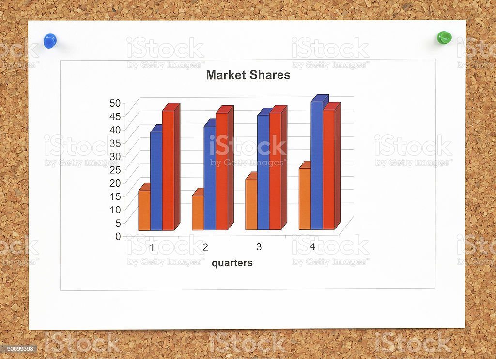 chart on cork board stock photo