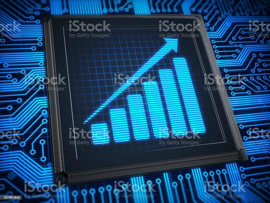 Chart on CPU stock photo