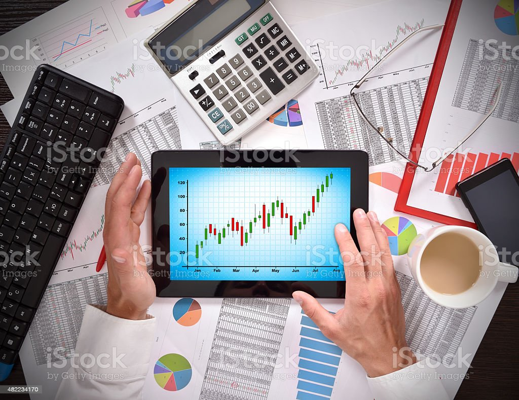 chart on screen stock photo