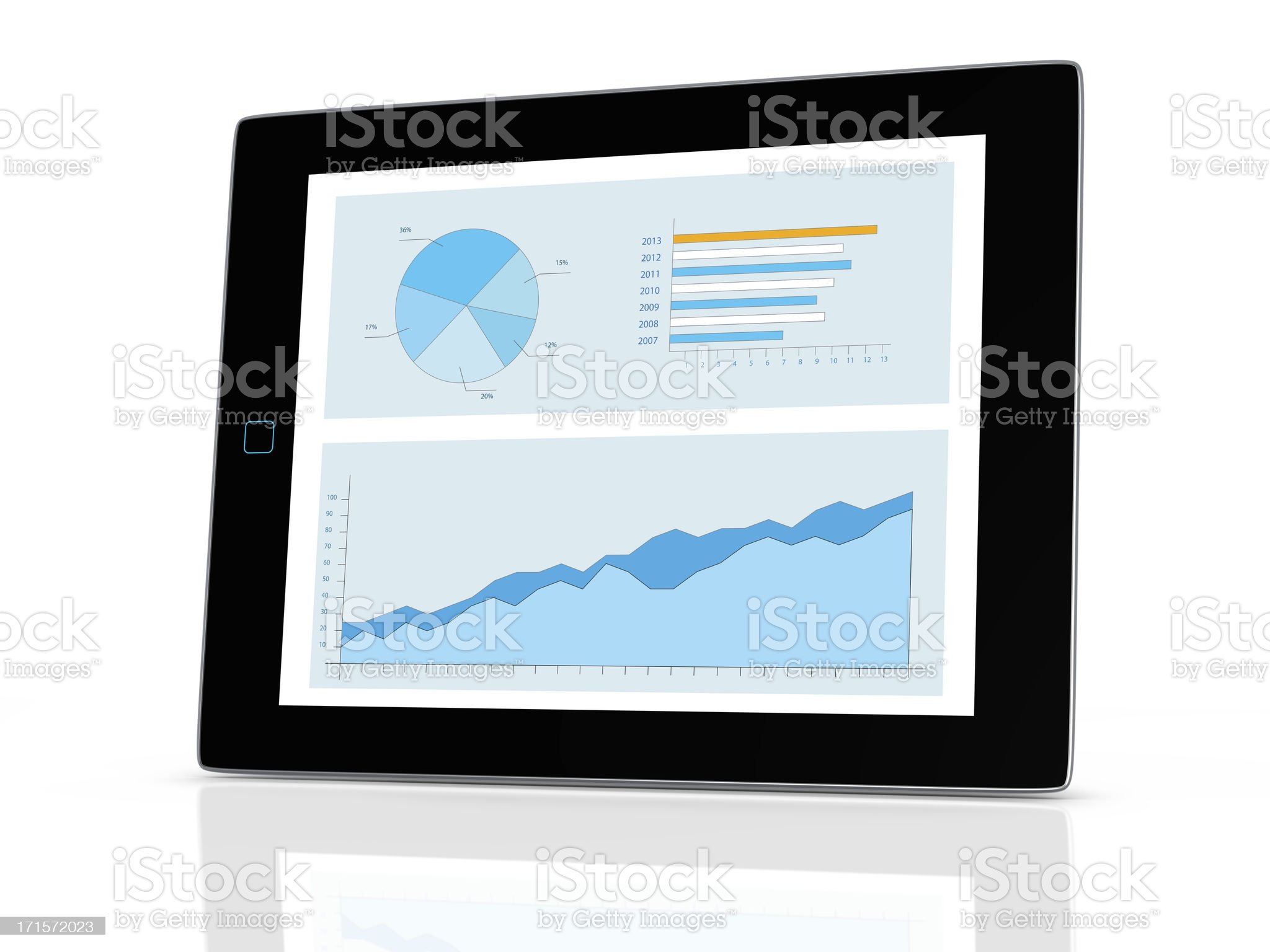 chart on tablet computer royalty-free stock photo