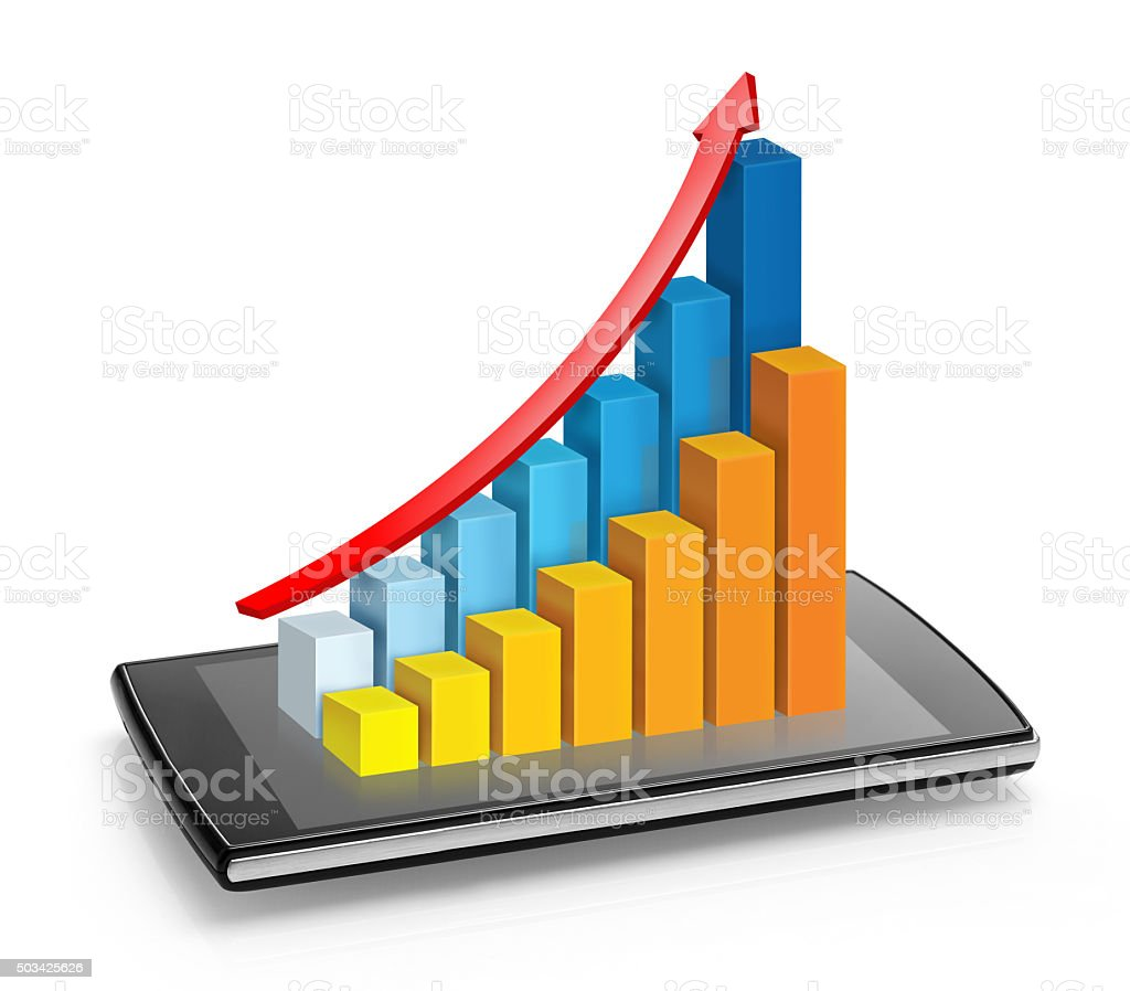Chart projecting from mobile phone stock photo