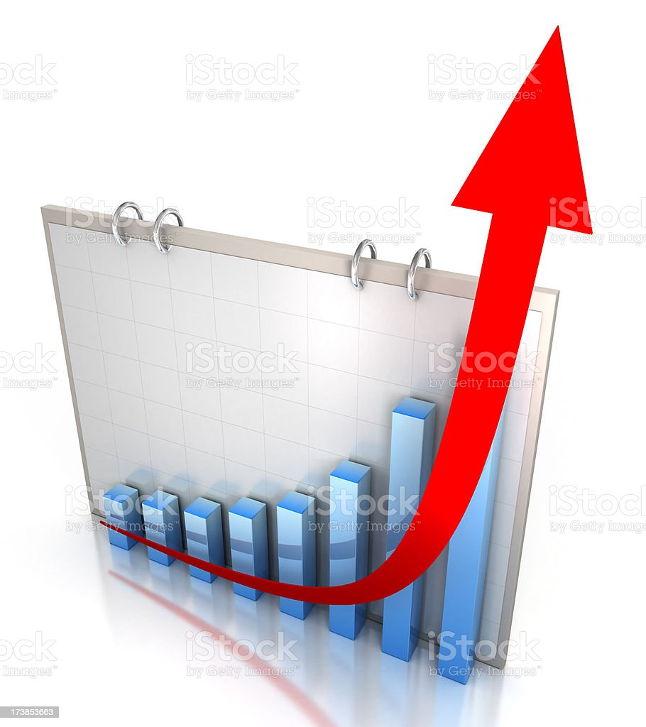 Chart showing a rising trend stock photo