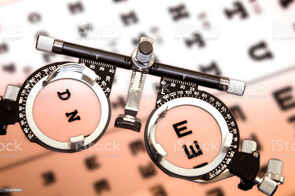 Chart to test sight and glasses stock photo