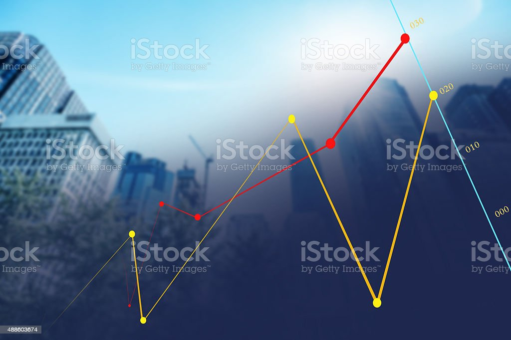 Chart with data on screen stock photo