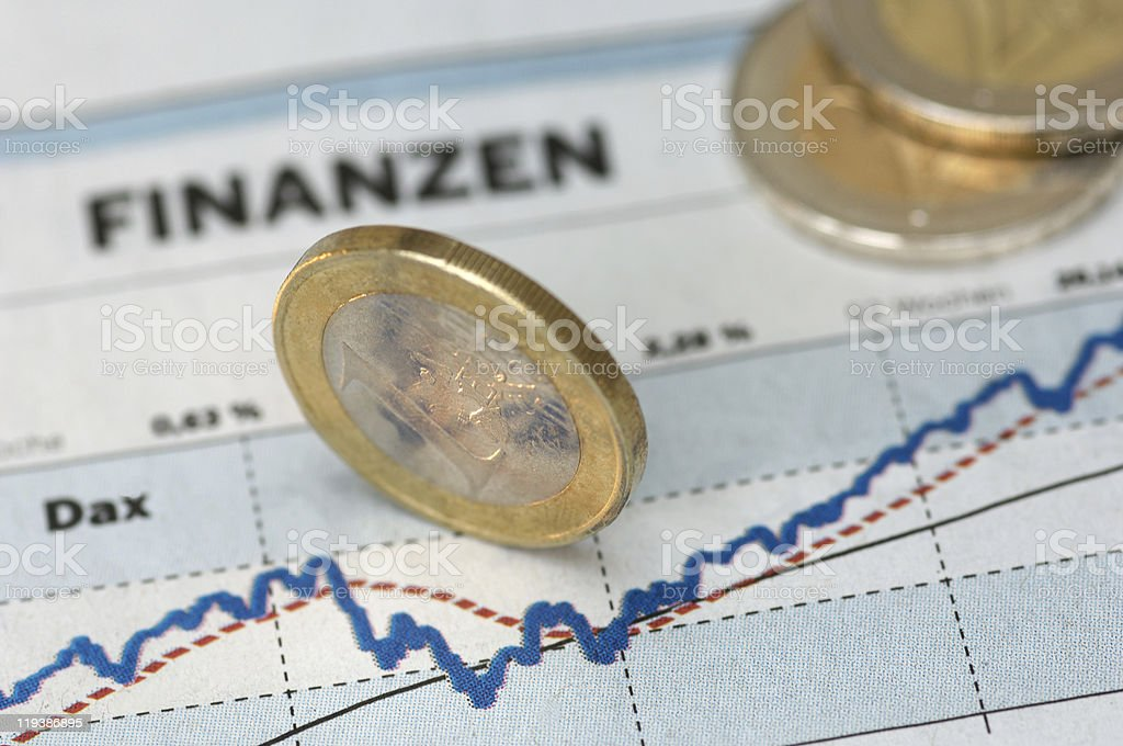 Chart with euro coins royalty-free stock photo