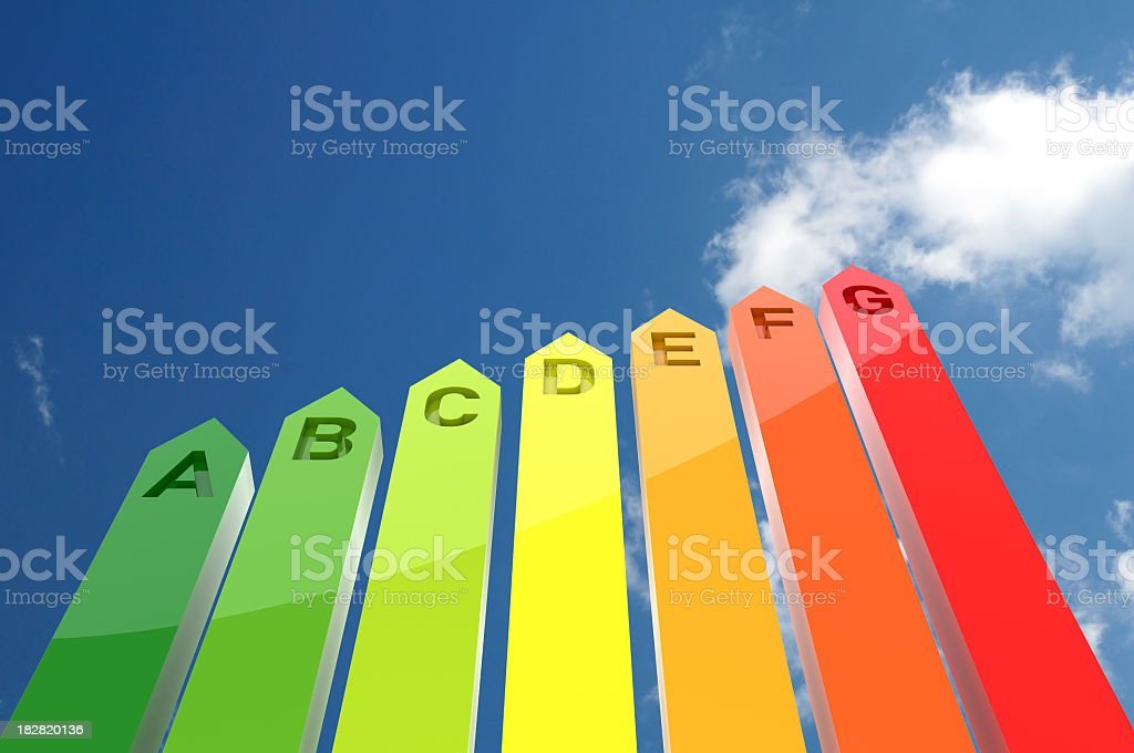 Chart with grades of energy efficiency against a blue sky stock photo
