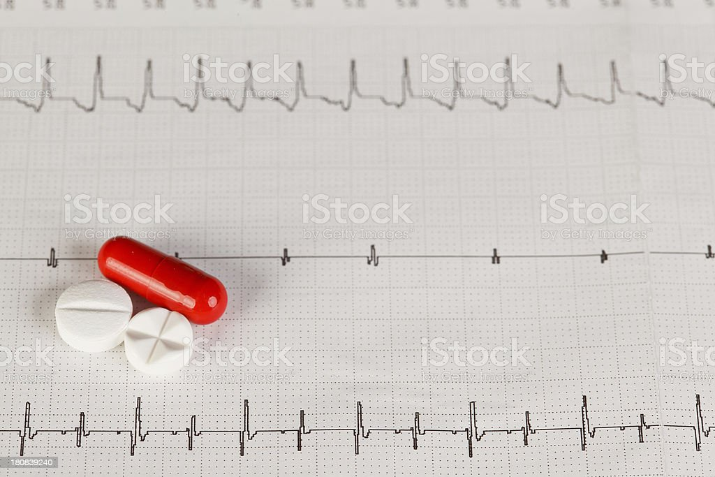 EKG chart with pills royalty-free stock photo