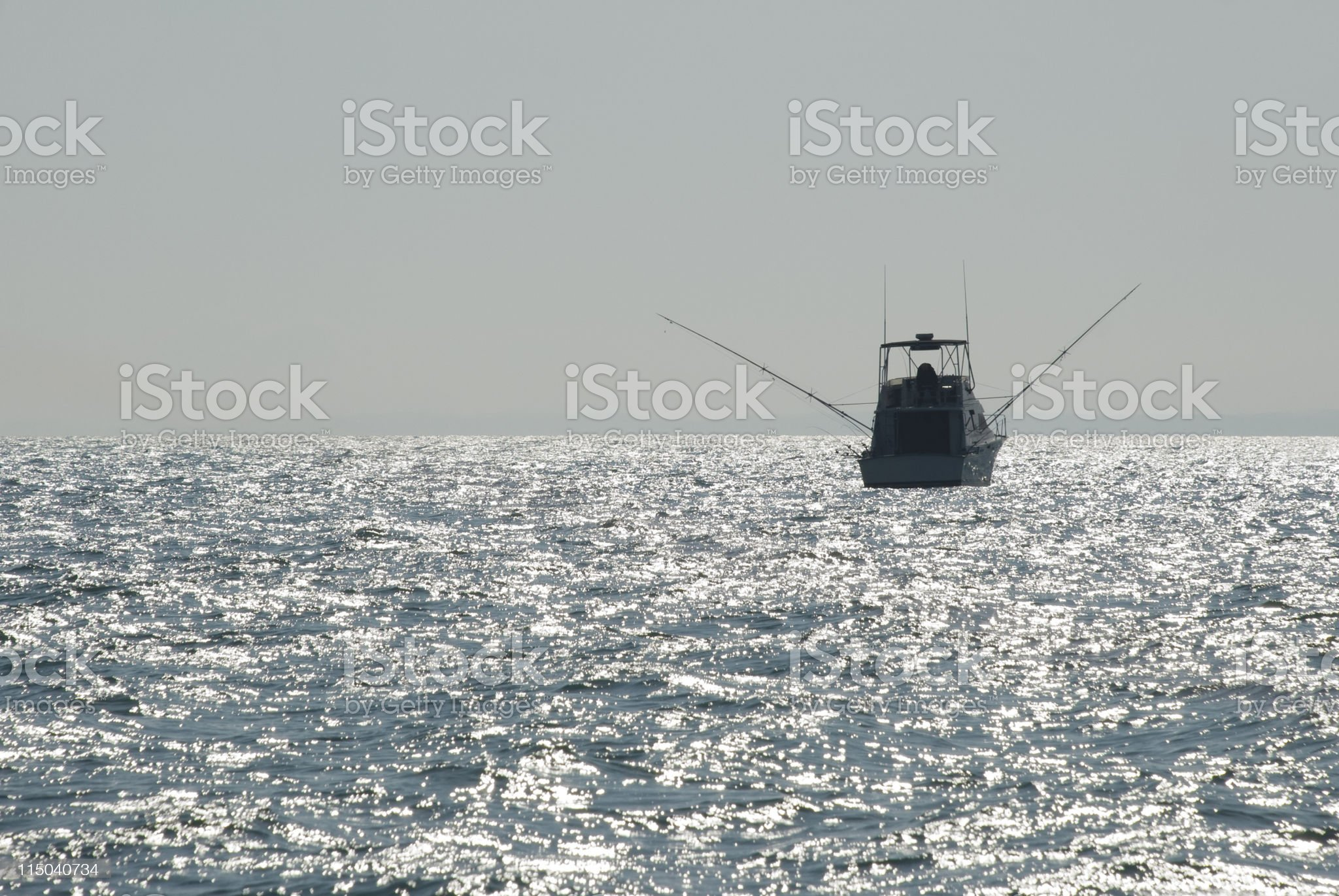 Charter Fishing Boat on a Lake with an Overcast Sky royalty-free stock photo