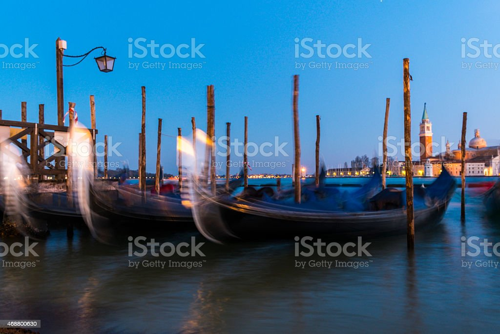 charterage gondolas parked in Canale di San Marco royalty-free stock photo