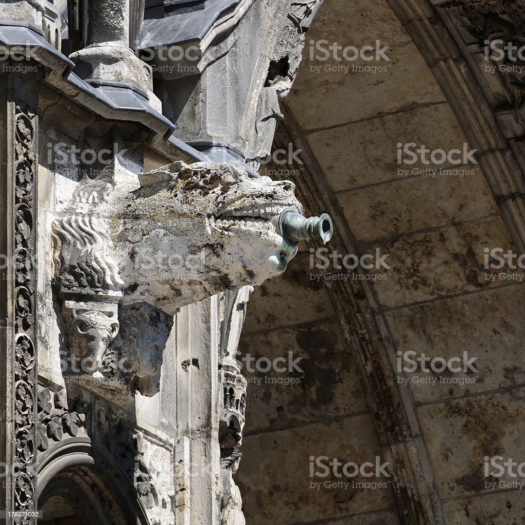 Chartres Cathedral gutter 00 stock photo