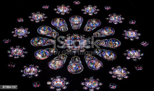 Chartres Cathedral Interior Rose Window Stock Photo Istock