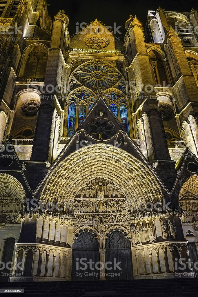 Chartres Cathedral Night - France stock photo