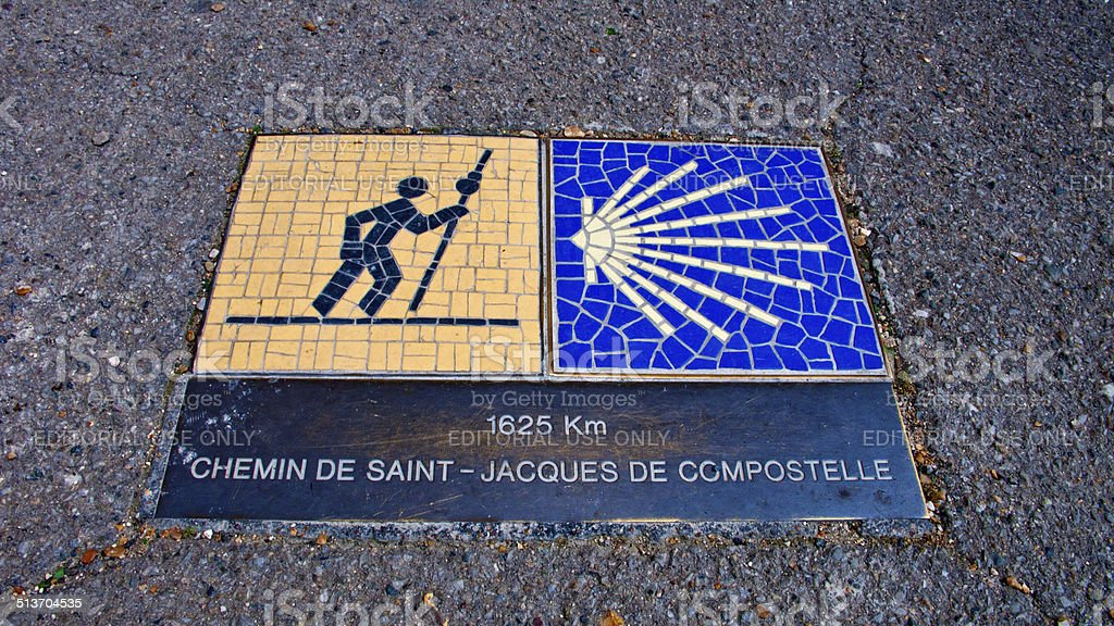 Chartres. France. Way of St. James sign. stock photo